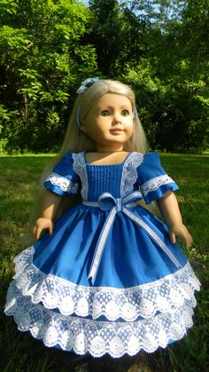 "18"" Civil War Style Gown for your american girl or other 18 inch doll Summer Blues"
