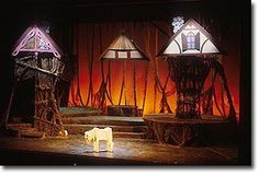 Jim Thurston: Design for the Stage. Into the Woods-Set and Light Photographs.   I like the idea of only having the roofs for the houses. Maybe we could do something similar?