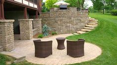 Nice circular paver patio for walkout basement is a nice idea for fire pit area.  Photo also reveals stone steps leading to upper raised patio.