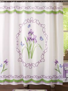 Wisteria Iris Bathroom Shower Curtain