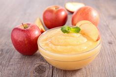 You can substitute applesauce for oil in a cake and other baking recipes to lower their fat content. Applesauce keeps food moist without compromising flavor. Soft Foods To Eat, Easy To Digest Foods, Negative Calorie Foods, Baby First Foods, Homemade Applesauce, Food Charts, Homemade Baby Foods, Desert Recipes, Low Calorie Recipes