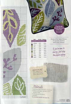 """""""Falling Leaves"""" pillow by Anette Eriksson, Cross Stitcher No. Cross Stitch Pillow, Cross Stitch Needles, Cross Stitch Charts, Cross Stitch Designs, Cross Stitch Patterns, Cross Stitching, Cross Stitch Embroidery, Embroidery Patterns, Hand Embroidery"""