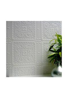 Brewster Paintable Turner Tile Textured Vinyl Peelable Wallpaper, White at MYHABIT