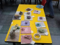Lesson on clay making in school. End product by the children in Nursery.