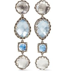Larkspur & Hawk Sadie rhodium-dipped quartz earrings ($1,980) ❤ liked on Polyvore featuring jewelry, earrings, quartz jewelry, 14k jewelry, vintage style jewelry, white quartz earrings and rhodium jewelry