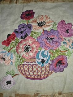 Pretty Vintage Embroidery on Linen ~Anemones~