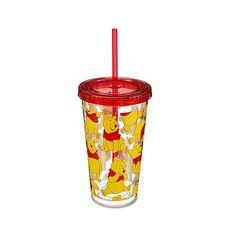 Winnie the Pooh Tumbler with Straw | Drinkware | Disney Store ($7.50) ❤ liked on Polyvore