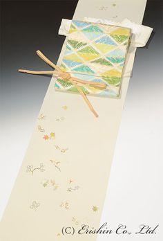 付下(吹き寄せ折枝/クリーム地)  染めの百趣矢野 /六通  有職松菱文様の袋帯
