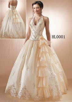 HL00001 Halter wedding dress with ruffles. Elegant v-neck halter wedding dress with ruffled side cascade