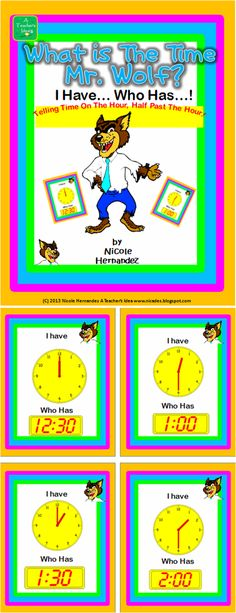 MATH Resources - This is a wonderful fun-filled activity for Kindergarten and Grade 1 students. Your kiddos will have no time to waste. This game reinforces time on the hour and half past the hour.  $2.00