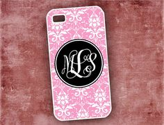 Monogrammed iPhone 4 cover pink damask -  Iphone 5 case, Iphone 4s case, Iphone 5c 5s cover silicone or plastic iphone case (9600) on Etsy, $16.99