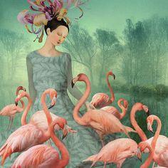 Painting On Photographs, Paintings, Flower Headdress, Surrealism Painting, Her Smile, Pink Flamingos, Medium Art, Cotton Canvas, Fantasy Art