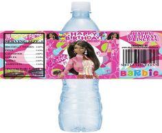 AFRICAN AMERICAN/Black Barbie Printable Water Bottle Labels, Printable Barbie Water Labels, Barbie, DIY water bottle labels, Black Barbie