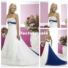 Wholesale Vintage Style Silver Embroidery On Satin White and Royal Blue Wedding Dress 2012, Free shipping, $189.31/Piece | DHgate
