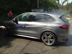 Washed this Porsche Cayenne GTS at our rowing team's car wash today #mademyday