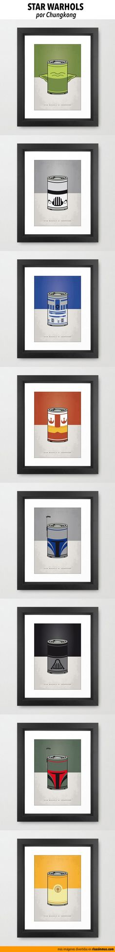 Star Warhols. Personajes de Star Wars recreados con el icónico bote de sopa de Andy Warhol.   Imágenes por Chungkong.