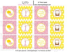 Lemonade Party Cupcake Toppers - PRINTABLE Party Logos - Pink Lemonade. $8.00, via Etsy.