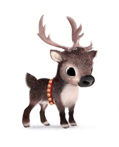 Syd's Illustrations | I gasped out loud when I beheld the cuteness of this baby reindeer illustration.