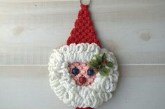 Handmade Retro Macrame Santa Wall Hanging from 2ndhandchicc on Etsy. Saved to Holiday Favorites.