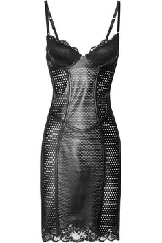 lace-trimmed perforated leather corset dress....fashiongasm