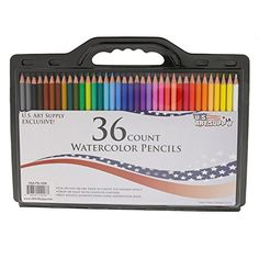 US Art Supply® Brand 36 Piece Watercolor Water Soluble Colored Pencil Set * Now Includes a FREE Reusable Plastic Carry Case.