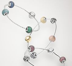 Beautiful PANDORA ESSENCE COLLECTION bracelets styled with the new pavé charms. #Spring2015