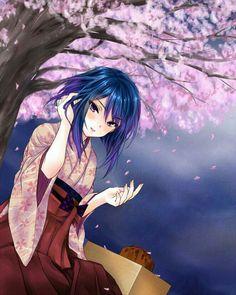 Your pretty like sakura flowers Kawaii Anime, Kawaii Girl, Anime People, Anime Guys, Manga Anime, Manga Girl, Anime Art Girl, Anime Blue Hair, Chibi
