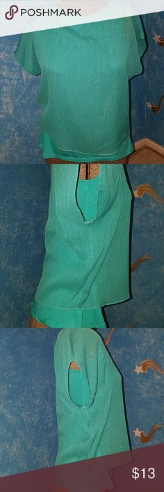 Women's Top - Express Express women's top made with slightly glittering chiffon on the outer layer. Top had attached matching color tank top gives it a flattering and famine look. Color as shown in photo: turquoise. Great to go with jeans, trousers, skirts, leggings, Jeggings. Excellent condition !!!! Express Tops Tunics