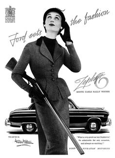 An advertisement for the 1953 Zephyr 6, manufactured by Ford in the United Kingdom. Note also the side-by-side sporting shotgun.