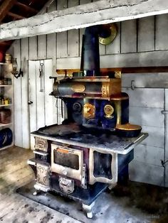 """""""Coal Stove in Kitchen"""" Posters by Susan Savad Antique Kitchen Stoves, Antique Wood Stove, How To Antique Wood, Antique Cast Iron Stove, Antique Desk, Wood Burning Cook Stove, Wood Stove Cooking, Model Architecture, Alter Herd"""