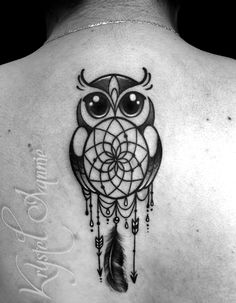 Owl tattoo dream catcher