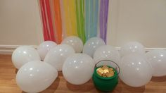 Cute to do for husband with you wearing shamrock!End of the Rainbow Door with Cloud Balloons and a Pot of Gold (Chocolates)