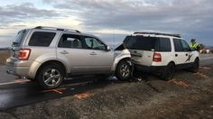 WSP authorities reported the trooper was out of his vehicle when it was rear ended on Bruce and Peone.