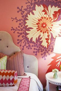 Wall Painting Designs For Bedrooms Stunning Bedroom Wall Paint Designi Like The Hawaiian Flower  My Style Review