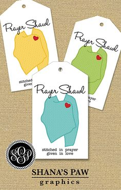 This ShanasPaw.com Tag design features a knit-look shawl with a heart clasp. Your purchase includes 6 tag templates with your wording and choice of colors.