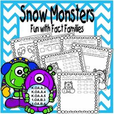Digital download,  59 pgs, $2.95, available at https://www.teacherspayteachers.com/Product/Snow-Monsters-Fun-with-Fact-Families-3542310  Your kids will have fun learning with these winter themed fact family worksheets. They will practice working with number bonds for addition and subtraction. Meets Common Core Standards for Kindergarten and First Grade.