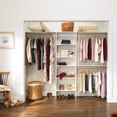 It's never been easier to DIY a closet that fits your needs. Featured: SuiteSymphony in Pure White #BedroomCloset #DIYCloset #ClosetDesign Bedroom Closet Design, Closet Storage, Closet Small Bedroom, Closet Makeover Diy, Closet Makeover, Open Closet, Organization Bedroom, Small Bedroom, Closet Remodel