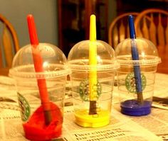 recycle starbucks cups with lids into kid-friendly paint containers - brilliant!