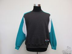 Vtg 80s 90s Nike Air Grey Tag Sweatshirt sz L Large Black Green Purple SEWN #Nike #SweatshirtCrew