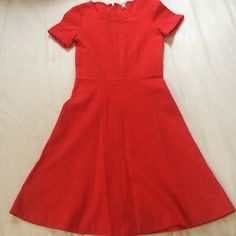 J.Crew cotton dress, size 00 Short sleeve, a line, cotton J.Crew dress in size 00. Bold red color. Can dress up or down! Perfect condition. From smoke free, animal free home. J. Crew Dresses Mini