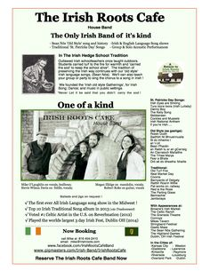 Information on the Irish Roots Cafe house band.  March, 2014