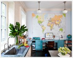 Map Mural - Would love to have that in the boy's room.