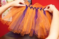 easy tutu DIY,my co worker made an adult version with longer strips same technique! although she used a ribbon to tie the tulle to.