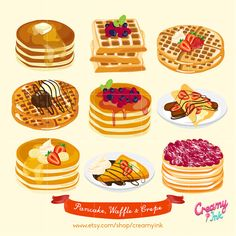 Waffle & Pancake Digital Vector Clip art/ Crepes by CreamyInk
