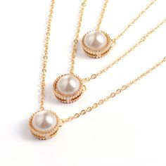 3-Layer Alloy Acrylic Pearl Pendant Tiered Necklaces from Pandahall.com