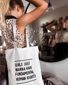 """Embroider the """"girls just wanna have fun"""" pattern on a tote bag to be this cool. Thank you @littleswedeontheprarie for this incredible pic. <3 Brodera """"girls just wanna have fun"""" -mönstret på en tygväska för att vara såhär cool. Tack @littleswedeontheprarie för den fantastiska bilden. <3 Diy Embroidery Kit, Embroidery For Beginners, Cross Stitch Embroidery, Jute, Best Tote Bags, Just Girl Things, Girls Bags, Personalized Wedding Gifts, Cross Stitch Designs"""
