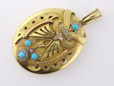 Antique Victorian 18K Yellow Gold Diamond Turquoise Large Locket Pendant #Unbranded