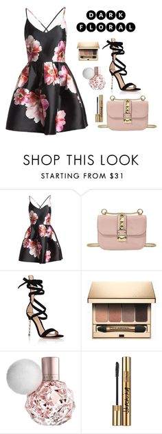 """dark floral"" by nabilayunita on Polyvore featuring Sans Souci, Valentino, Gianvito Rossi, Clarins and Yves Saint Laurent"