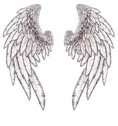 angel wings sketch realistic drawing tattoos on back tattoo - wings line drawing Angel Wings Tattoo On Back, Fallen Angel Tattoo, Angel Wings Drawing, Wing Tattoos On Back, Feather Angel Wings, Back Tattoo, Tattoo Wings, Fallen Angel Wings, Wrist Tattoo