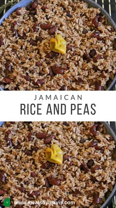 Jamaican Rice and Peas- Rice and Peas This is an easy recipe for traditional Jamaican rice and peas. This recipe uses brown rice, coconut milk, fresh thyme, and dried red kidney beans. Jamaican Cuisine, Jamaican Dishes, Jamaican Recipes, Jamaican Oxtail, Jamaican Curry Chicken, Recipes With Kidney Beans, Red Beans N Rice Recipe, Kidney Bean Recipe, Red Beans And Rice Recipe Vegetarian